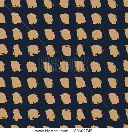 Hand drawn brown brushes on dark blue background. Abstract spotted seamless pattern. Naive minimalistic design. Vector illustration.