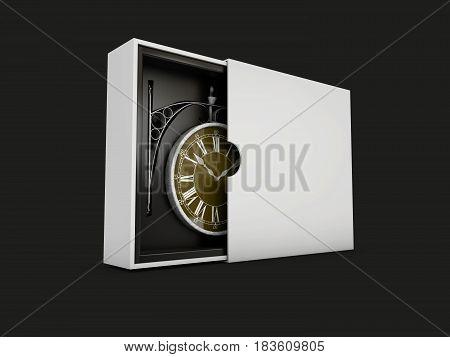 Old Vintage Clockin The Box Isolated Black, 3D Illustration
