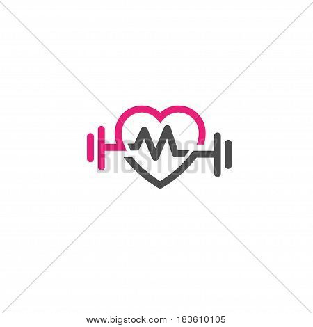 love fit with pulse logo vector, Heart sign, pulse and dumbbell logo.Fitness and heart icon vector.Healthcare sport medical and science symbol.Healthy lifestyle vector logo template