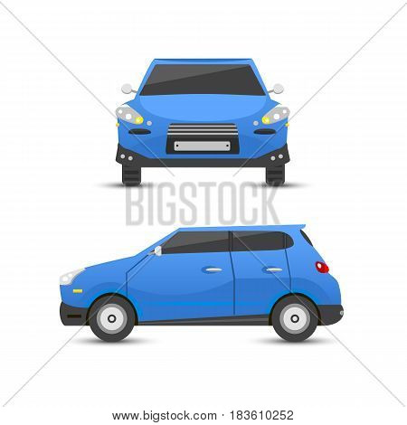 Flat blue car vehicle type design sign technology style vector generic classic business illustration isolated. Transportation luxury side view travel contemporary fast traffic.