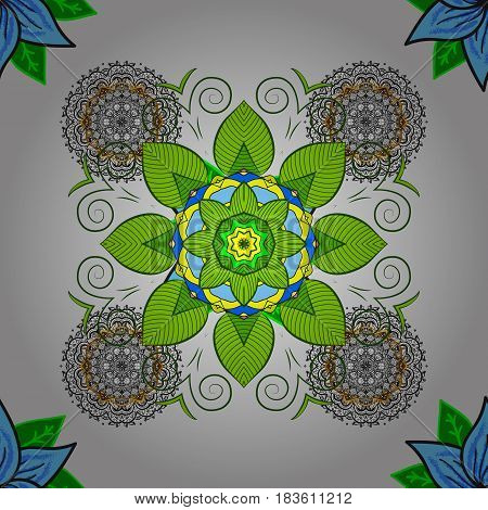 Colorful colored tile mandala on a white background. Abstract seamless pattern. Unusual vector ornament decoration. Intricate floral design element for sketch gift paper fabric print furniture.