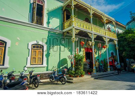 George Town, Malaysia - March 10, 2017: Pinang Peranakan Mansion, is a museum containing antiques and showcasing Peranakans customs, interior design and lifestyles