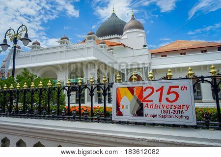 George Town, Malaysia - March 10, 2017: Kapitan Keling Mosque, built in the 19th century by Indian Muslim traders and part of the World Heritage Site of the city