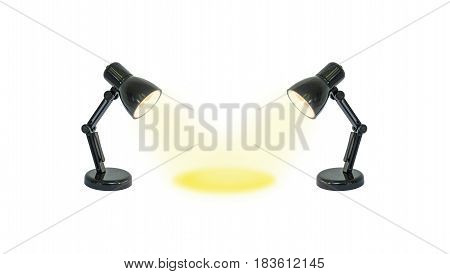 Closeup two small lamp with yellow light shine to the center isolated on white background