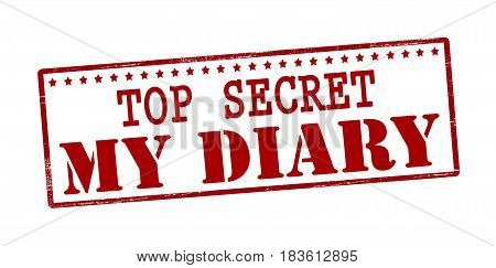 Stamp with text top sercret my diary inside vector illustration