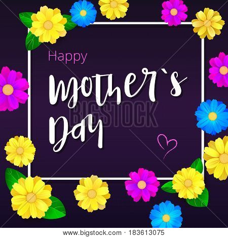 Happy Mother day. Greeting banner with white frame for your congratulations cards. Realistic colorfull, bright, spring flowers on dark backdrops. Ready for your beloved mother.