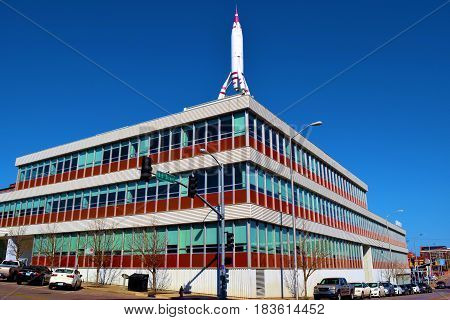 March 20, 2017 in Kansas City, MO:  Former TWA Airlines Headquarter Building which was built in 1956 and occupied until 1964 and where people can currently rent the space as artist lofts taken in Kansas City, MO