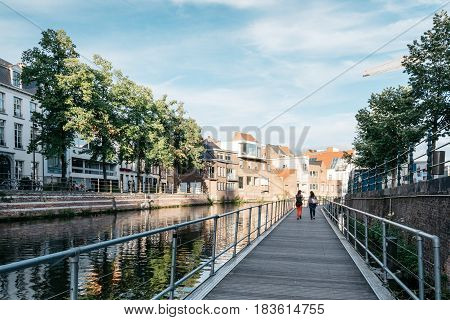 Mechelen Belgium - July 29 2016: Cityscape of Mechelen from the gangway on the canal. Mechelen is one of most prominent cities of historical art in Flanders