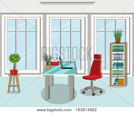Modern graphic office room interior design with wide large window and furniture - chair, table, bookcase, lamp. Flat style vector illustration.