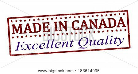 Stamp with text Made in Canada inside vector illustration