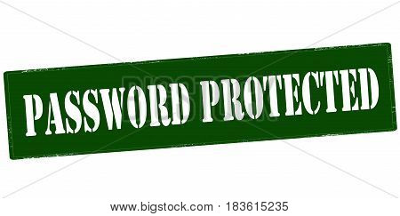 Stamp with text password protected inside vector illustration