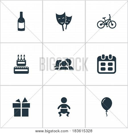 Vector Illustration Set Of Simple Birthday Icons. Elements Ribbon, Bicycle, Beverage And Other Synonyms Beverage, Confectionery And Gift.