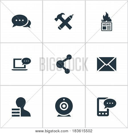 Vector Illustration Set Of Simple User Icons. Elements Argument, Broadcast, Post And Other Synonyms Web, Gazette And Negotiation.