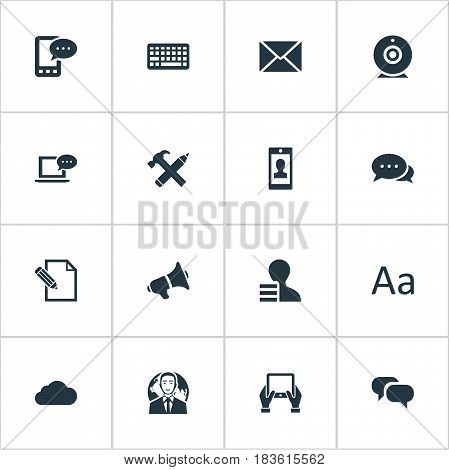 Vector Illustration Set Of Simple Newspaper Icons. Elements E-Letter, Gossip, Laptop And Other Synonyms Gossip, Camera And Overcast.