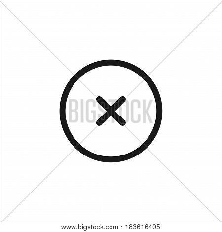 Single Monochrome Delete Mark Icon. Flat Design Vector Illustration.isolated On White Background.