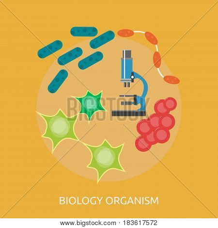 Biology Organism Conceptual Design | Great flat illustration concept icon and use for science, research, technology, physics, chemistry and much more.