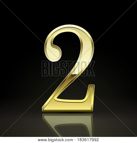 3D Elegant Golden Number 2