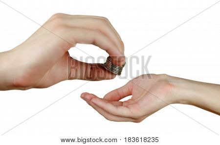 Hand Puts Coins In The Other Hand. Hands Holding Money. Transfers Of Coins. Isolated On A White Back