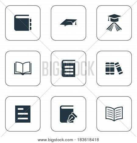 Vector Illustration Set Of Simple Reading Icons. Elements Sketchbook, Journal, Academic Cap And Other Synonyms Library, Encyclopedia And Bookshelf.