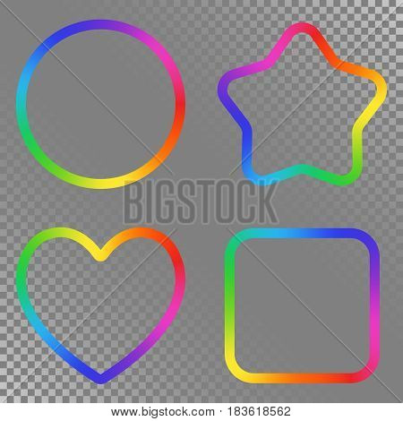 Set of Abstract Rainbow Gradient Blurry Figure. Place for your Content Colorful Frame with Iridescent Gradient Mesh.