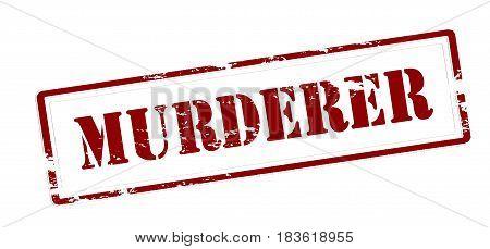 Stamp with word murderer inside vector illustration poster