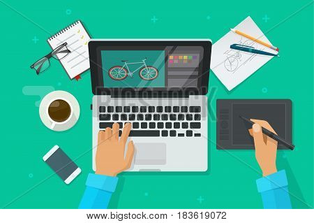 Designer workplace vector illustration top view, flat cartoon person sitting on table and drawing on pen tablet on laptop, graphic designer at work, freelancer working on computer