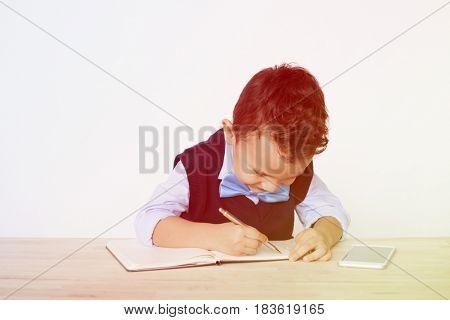 Young Schoolboy Writing Bookworm Education