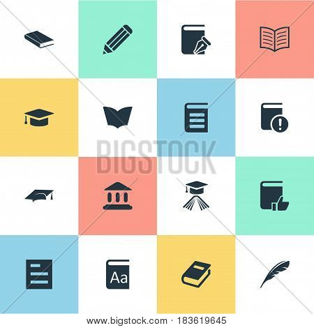 Vector Illustration Set Of Simple Knowledge Icons. Elements Plume, Academic Cap, Important Reading And Other Synonyms School, Reading And Academic.