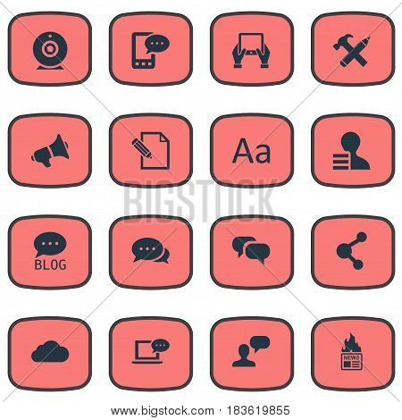 Vector Illustration Set Of Simple Newspaper Icons. Elements Man Considering, Gazette, E-Letter And Other Synonyms Megaphone, Speech And News.