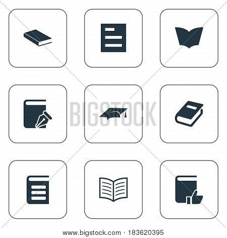 Vector Illustration Set Of Simple Reading Icons. Elements Reading, Sketchbook, Recommended Reading And Other Synonyms Document, Dictionary And Cap.