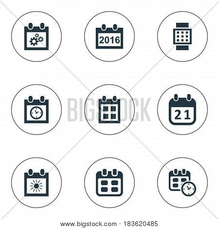 Vector Illustration Set Of Simple Time Icons. Elements Date, Almanac, Intelligent Hour And Other Synonyms Data, Agenda And Annual.