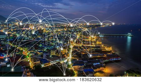 city scape and network connection concept / Network and Connection technology concept with city background