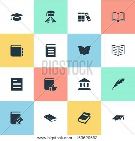 Vector Illustration Set Of Simple Books Icons. Elements Recommended Reading, Plume, Academic Cap And Other Synonyms Textbook, Page And Notebook.