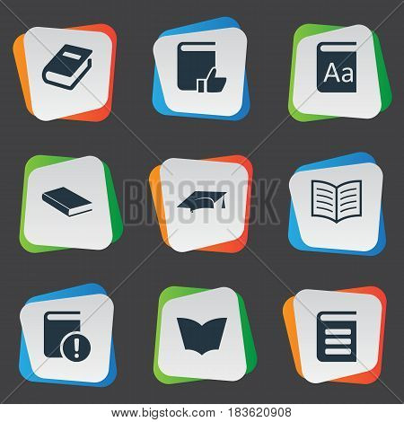 Vector Illustration Set Of Simple Reading Icons. Elements Notebook, Encyclopedia, Recommended Reading And Other Synonyms Book, Favored And Journal.