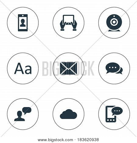 Vector Illustration Set Of Simple User Icons. Elements Profile, Overcast, Broadcast And Other Synonyms Overcast, Cedilla And Profile.