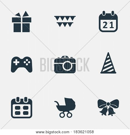 Vector Illustration Set Of Simple Holiday Icons. Elements Days, Game, Special Day And Other Synonyms Joystick, Cap And Resonate.