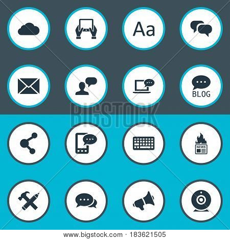 Vector Illustration Set Of Simple Blogging Icons. Elements E-Letter, Gossip, Keypad And Other Synonyms Considering, News And Repair.