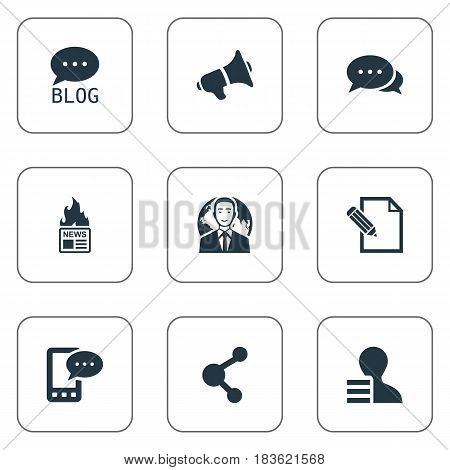 Vector Illustration Set Of Simple Blogging Icons. Elements E-Letter, Share, Site And Other Synonyms Phone, International And Hot.