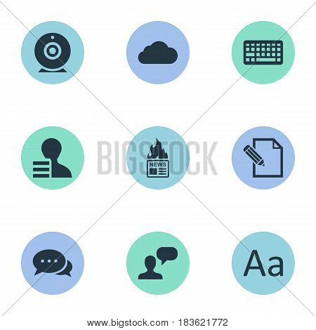 Vector Illustration Set Of Simple Blogging Icons. Elements Broadcast, Document, Man Considering And Other Synonyms Contract, Camera And Typography.
