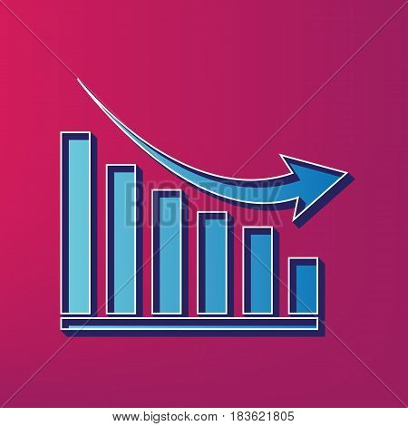 Declining graph sign. Vector. Blue 3d printed icon on magenta background.