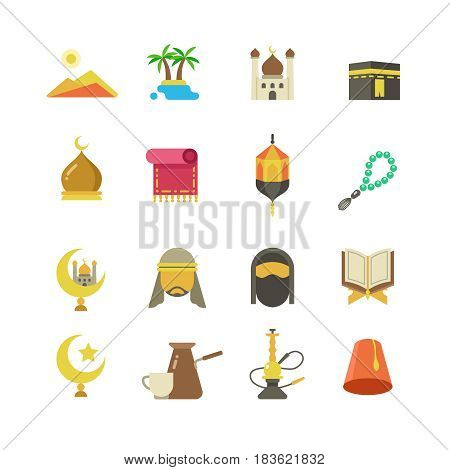 Arabic muslim culture vector icons. Arabian ramadan kareem Eid Mubarak holiday design. Color arabic muslim icons, illustration of eastern arabic