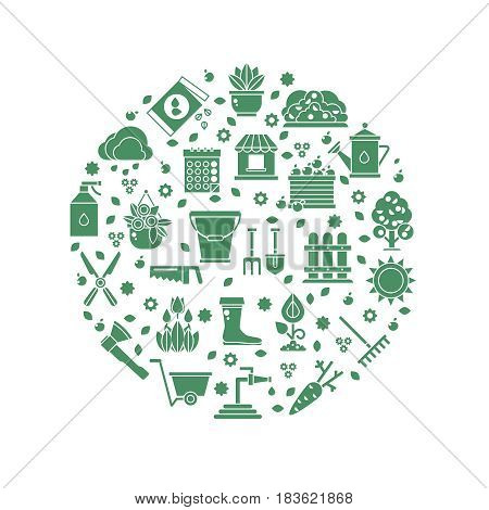 Gardening vector logo with garden tools icons. Green silhouette tools for agriculture gardening, equipment for gardening illustration
