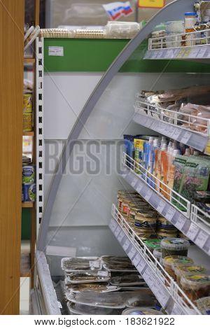 Kaluga, Russia - April, 21, 2017: Interior of a supermarket in Kaluga, Russia