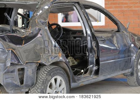 Stupinio, Russia - April, 18, 2017: Car in a car body shop in Stupino, Russia