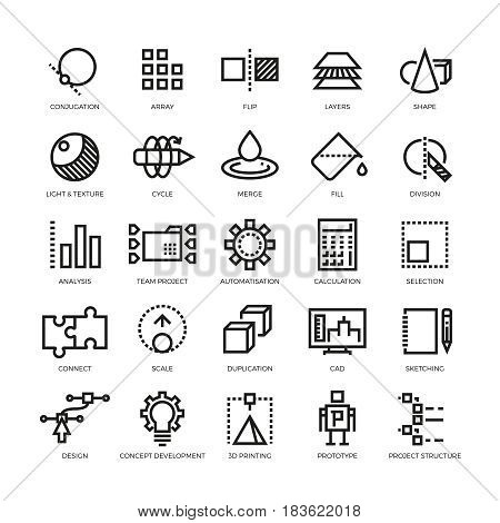 Cad designer, future innovation, database, architecture, 3d model printing vector line icons. Conjugation and array, flip and layer illustration poster