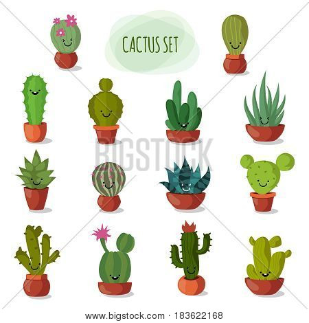Funny and cute cartoon desert cactus in pots vector set. Floral cactus collection. illustration of funny garden cactus with face