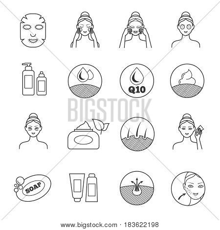 Skin care vector icons. Prevention of aging and eliminating of wrinkle pictograms. Cosmetic skin care, illustration of prevention of skin aging