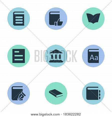 Vector Illustration Set Of Simple Knowledge Icons. Elements Tasklist, Notebook, Encyclopedia And Other Synonyms Document, Favored And School.