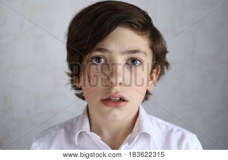 Preteen Boy With Fear Afraid Expression
