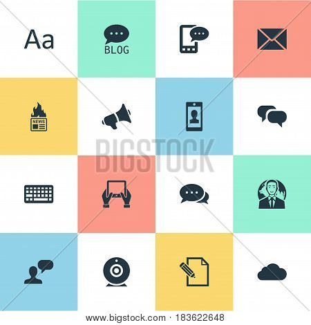 Vector Illustration Set Of Simple User Icons. Elements Keypad, E-Letter, Cedilla And Other Synonyms Gazette, Missive And Tablet.